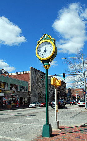 The Savings Institute clock on Main Street in Willimantic