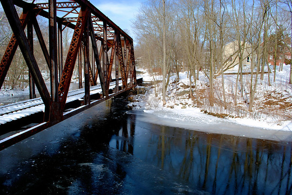 Railroad trestle over the Yantic River