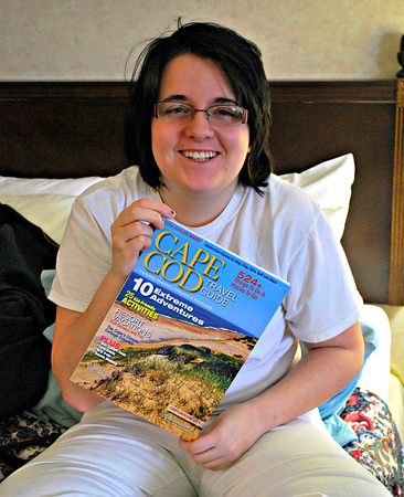 Jamie in our hotel with the Cape Cod guide
