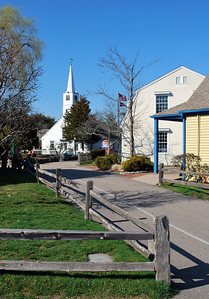 A view of the church in Olde Mystic Village