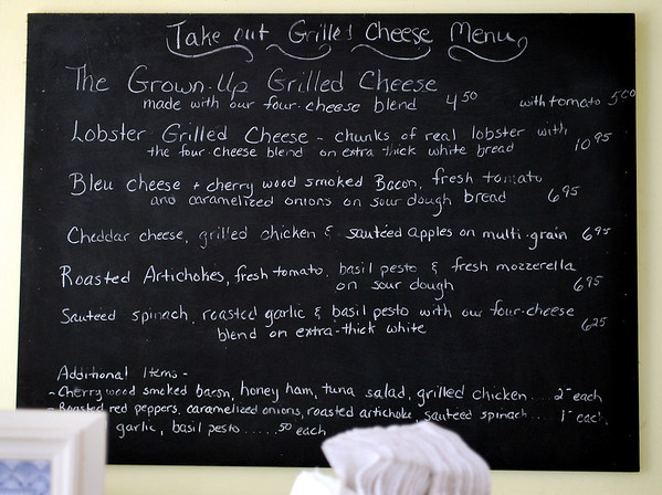 Take-out Grilled Cheese Menu