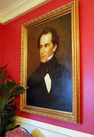 Portrait of Nathaniel Hawthorne in the dining room named for him at the Hawthorne Hotel in Salem, Mass.