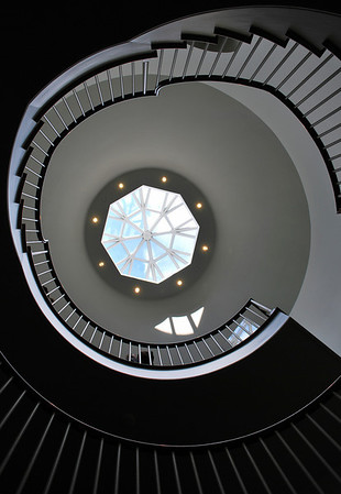 A spiral staircase in the PEM