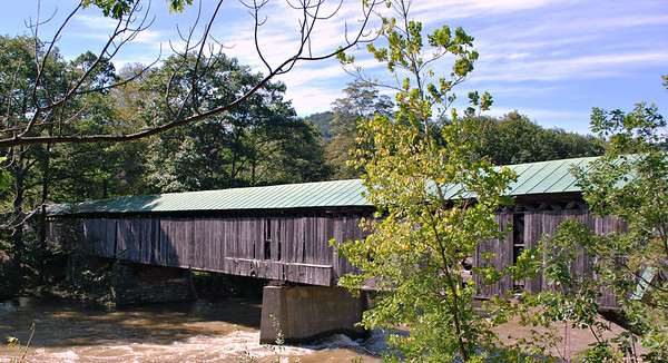 The Scott Covered Bridge over the West River in Townshend, Vermont.