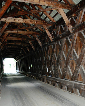 Inside view of the Hall Covered Bridge in Rockingham, Vermont