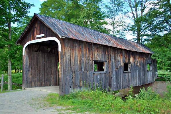 The MacMillan Covered Bridge, aka the Cheddar Cheese Bridge, adjacent to Grafton Village Cheese Company on Townshend Road in Grafton, Vermont.