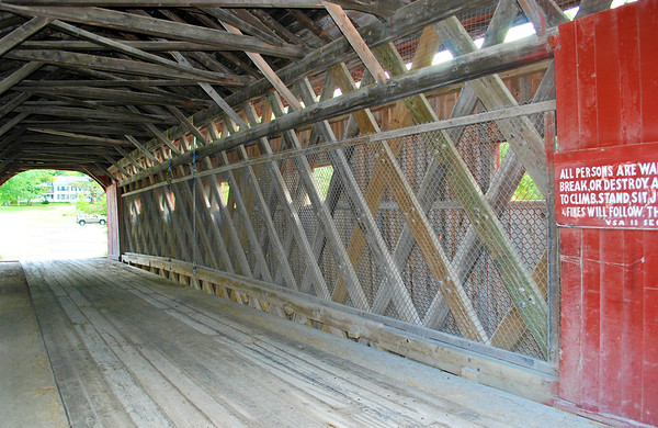 Inside view of the Bridge on the Green in West Arlington, Vermont.
