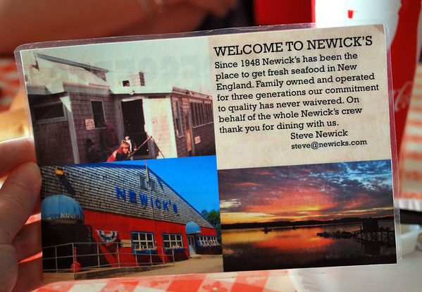 Welcome to Newick's table card.