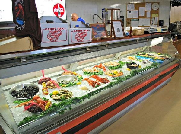 Fresh seafood case at the front of Newick's