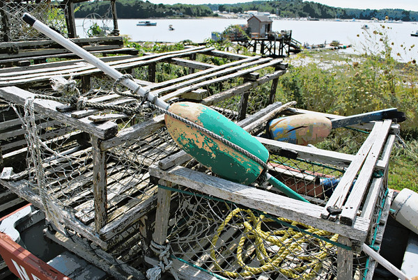 Lobster traps and a buoy.