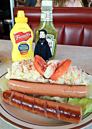 Nathaniel and Franks and Potato Salad with Cole Slaw