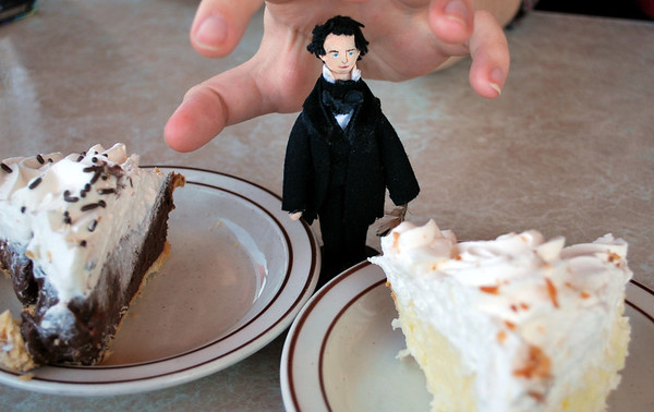 Nathaniel and Chocolate Cream and Coconut Cream Pie (and Amanda's hand!)