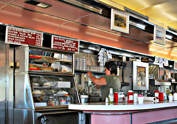 Counter and Pie Case at Agawam Diner