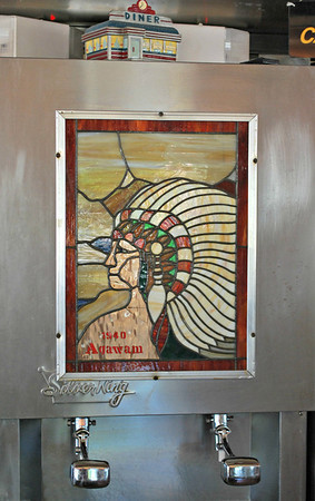 Stained Glass Picture on the Milk Dispenser at the Agawam Diner