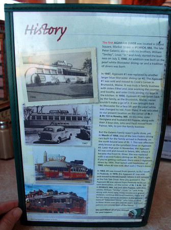 History of the Agawam Diner on the back of the menu