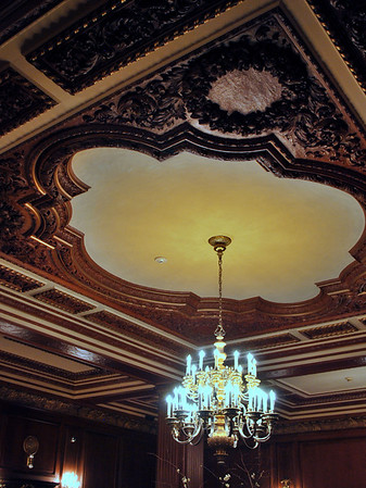 Decorative Ceiling and Chandelier in the lobby of the Omni Parker House