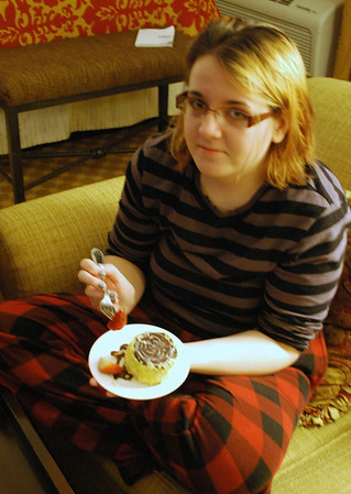 Jamie enjoying Boston Cream Pie on the couch
