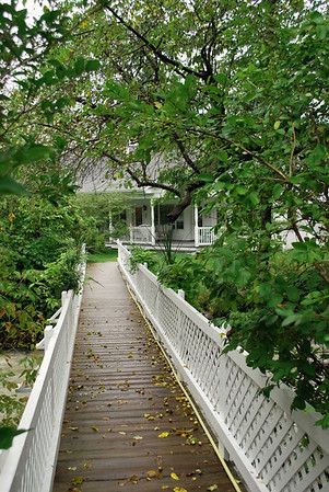 The footbridge to the 1896 House from the Brookside Motel