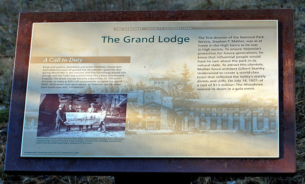 Plaque about The Grand Lodge located in the meadow facing the hotel