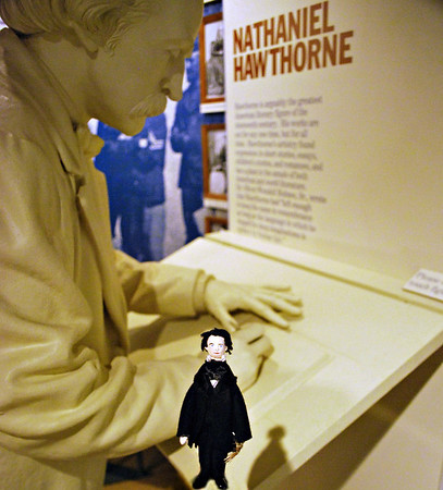Mini-Nate and a statue of Nathaniel Hawthorne at