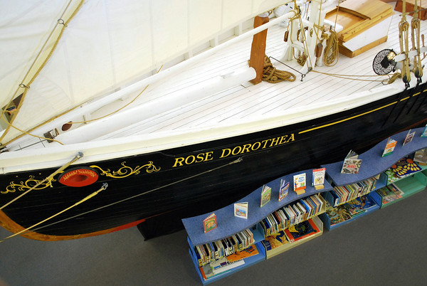 The Rose Dorothea half-scale model inside the Provincetown Public Library in the Children's Book section.