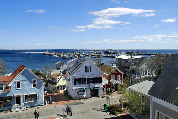 A view of MacMillan Wharf from the mezzanine level of the Provincetown Library