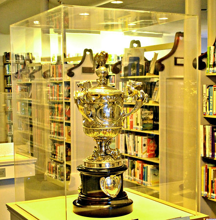 The Lipton Cup on display in the Provincetown Public Library