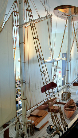 The Rose Dorothea half-scale model inside the Provincetown Public Library