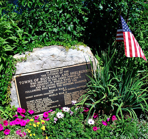 Towns of Buckland and Shelburne World War I and II Memorial on the Bridge of Flowers