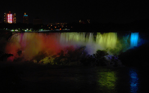 The American Falls illuminated at night