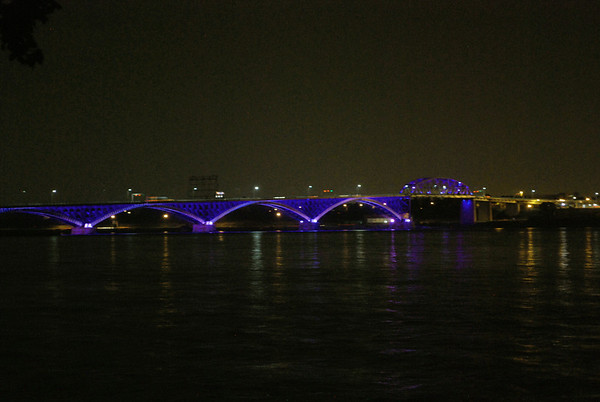 The International Peace Bridge at night.