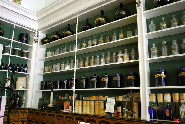 Shelves of medcines and potions and such
