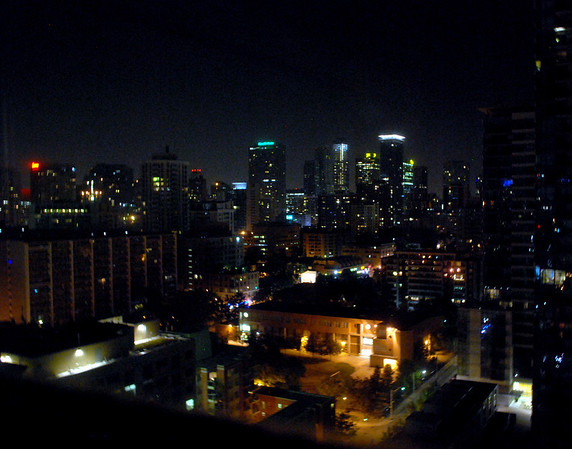Toronto at night through the hotel window.