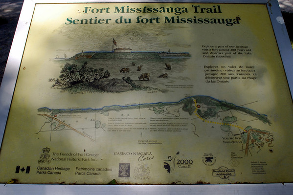 Signage for Fort Mississauga Trail across the golf course.