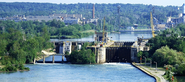 One of the locks located on the Welland Canal, a ship canal in Canada that extends 27 miles from Port Weller, Ontario, on Lake Ontario, to Port Colborne, Ontario, on Lake Erie. As a part of the St. Lawrence Seaway, this canal enables ships to ascend and descend the Niagara Escarpment and to bypass the Niagara Falls.