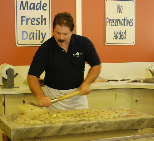 Michael at Maple Leaf Fudge preparing blueberry fudge.