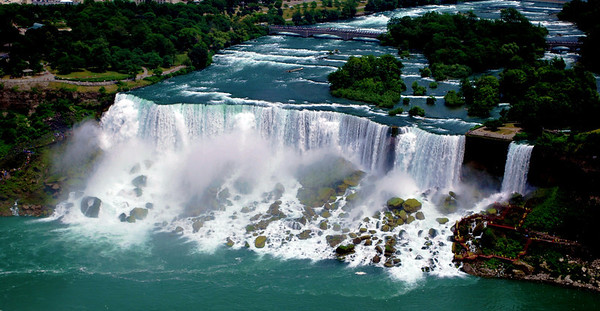 The American Falls and Bridal Veil Falls