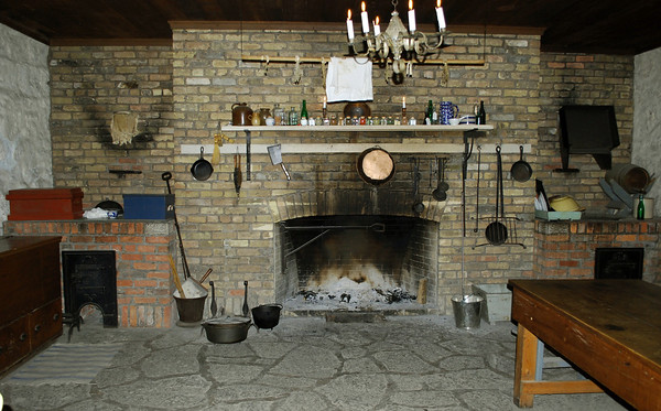 The fireplace in the kitchen at Old Fort Erie.