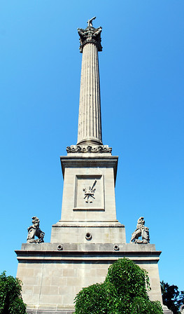Brock's Monument is a 185-foot column atop Queenston Heights in Queenston, Ontario, dedicated to Major General Sir Isaac Brock, one of Canada's heroes of the War of 1812. Brock and one of his Canadian aides-de-camp, Lieutenant-Colonel John Macdonell, are interred at the monument's base on the heights above the battlefield where both fell during the Battle of Queenston Heights on October 13th, 1812.