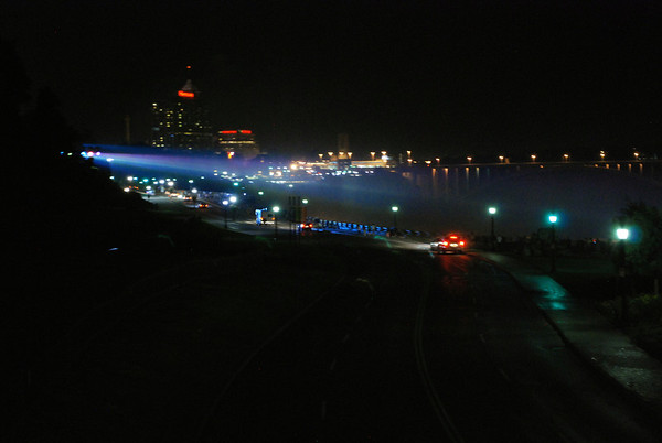Niagara Parkway at night as the lights illuminate the Falls.