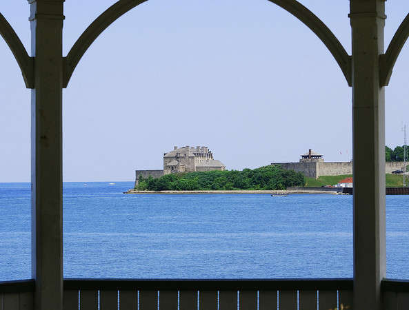 As seen from the gazebo at Niagara on the Lake, Old Fort Niagara has dominated the entrance to the Niagara River since 1726.