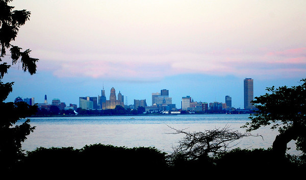 Buffalo, New York in the evening as seen from Fort Erie, Ontario.