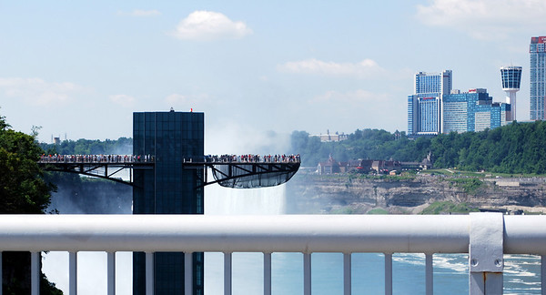 A view to the observation tower on the NY side of Niagara Falls while sitting in the car on the Rainbow Bridge