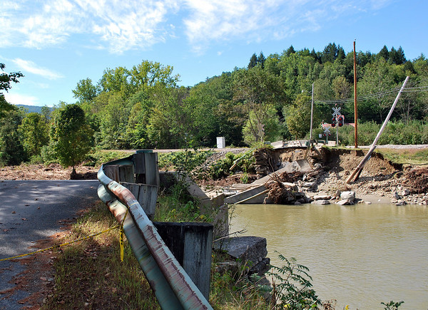 A view from the other side of the Williams River where the Bartonsville Covered Bridge formerly stood until washed away by flood waters in August of 2011.