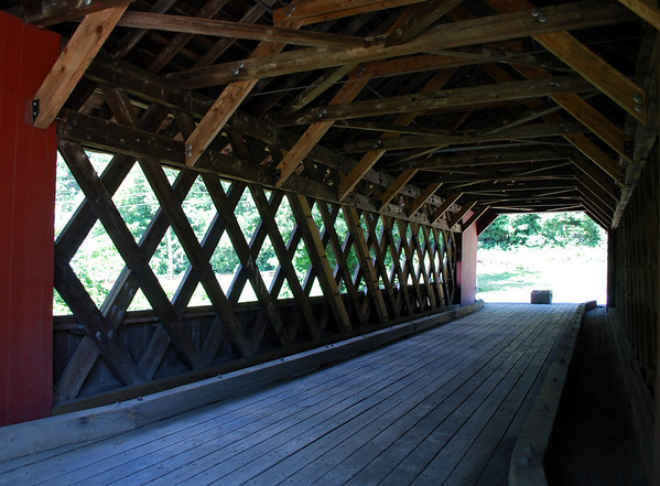 Inside view of the Creamery Covered Bridge