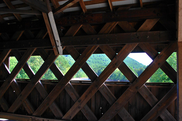 An inside view of the West Dummerston Covered Bridge, the longest covered bridge in Vermont.