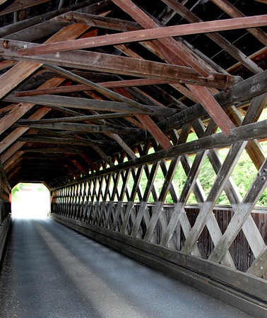 Inside view of the Chiselville Covered Bridge.