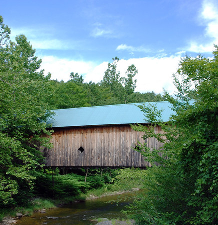 View of the Hall Covered Bridge across the Saxton River in Rockingham.