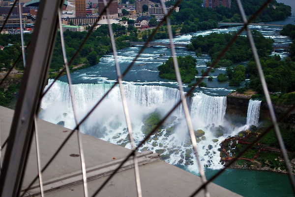 Looking through the fencing on top of Skylon Tower