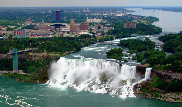 A view of the American Falls and Observation Tower from Skylon Tower